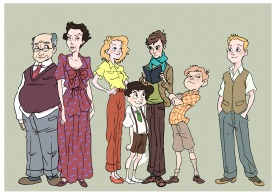 The boy with the blue scarf characters