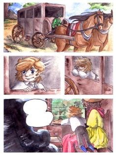 Page 1 from an unfinished comic (before 2010) Colored with water color.