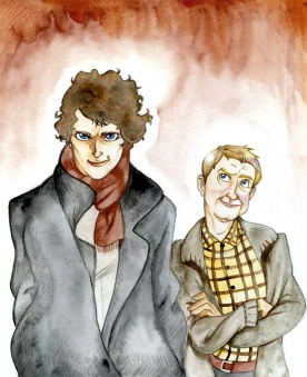 Sherlock Fanart (2011) Colored with water color, colored pencils