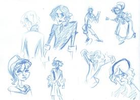 """Sketches for """"Marie Dieudonnée"""" No 1 (Colored Pencil)"""